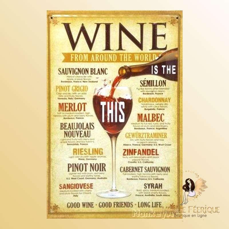 Plaque Décoration Vins Premium 30x40cm