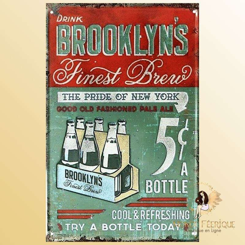 Plaque Décoration Brooklyn Bières Premium 20x30cm