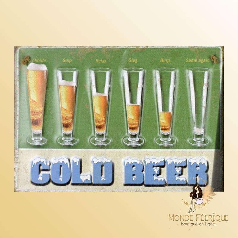 Plaque Décoration Bière Froide Premium 30x40cm