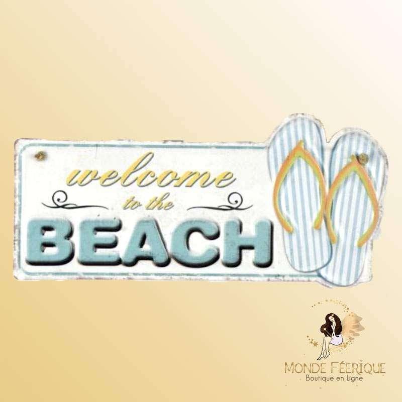 Plaque Décoration Welcome to the Beach Premium 19x40cm