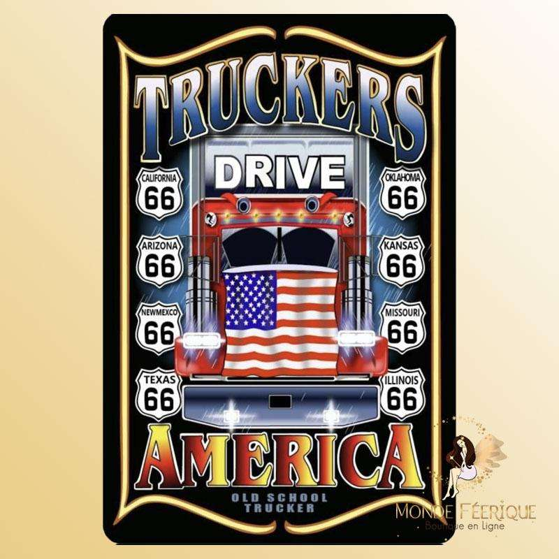 Plaque Décoration Camion Americain Premium 30x40cm