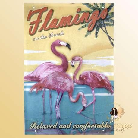 plaque decoration flamands rose plage vintage ancienne publicite