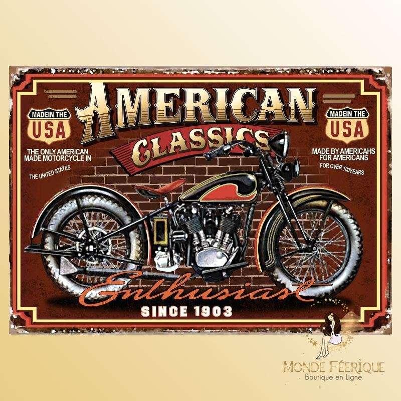 Plaque Décoration Moto Vintage Premium 30x40cm