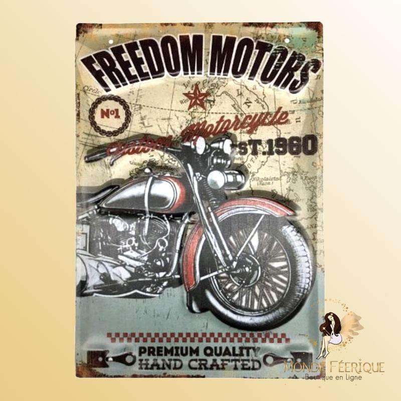 Plaque Décoration Moto Freedom Premium 30x40cm