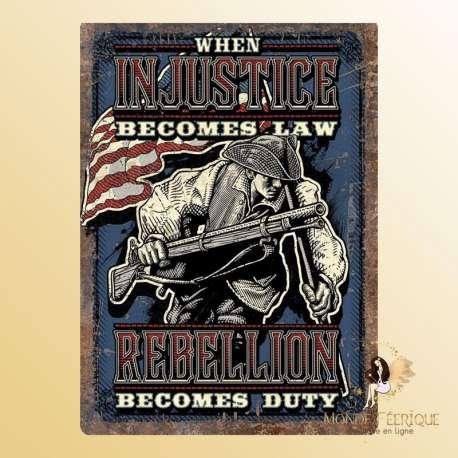 plaque decoration murale USA vintage injustice loi rebellion