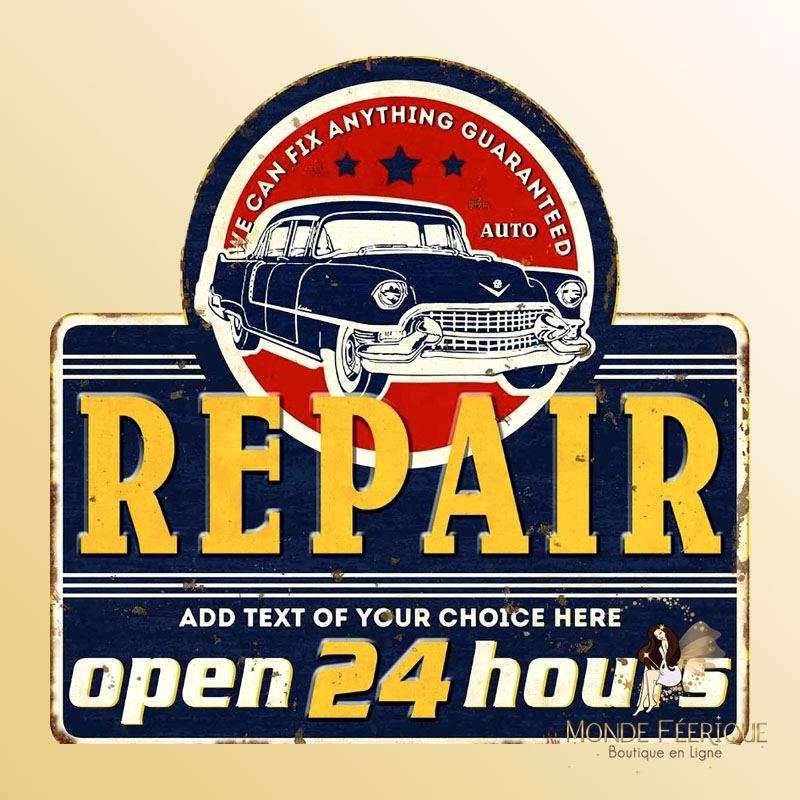 Plaque Décoration Garage 24H Premium 30x30cm