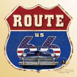 plaque decoration retro vintage route 66 ecusson murale