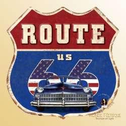 Plaque Décoration Route 66 US Premium 30x28cm