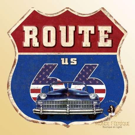 plaque decoration retro vintage route 66 ecusson murale