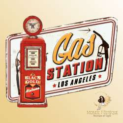 Plaque Décoration Station Service Americaine 32x25cm