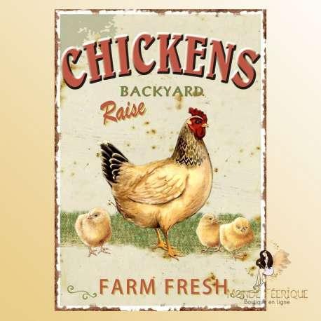 plaque decoration vintage poulet poules ferme