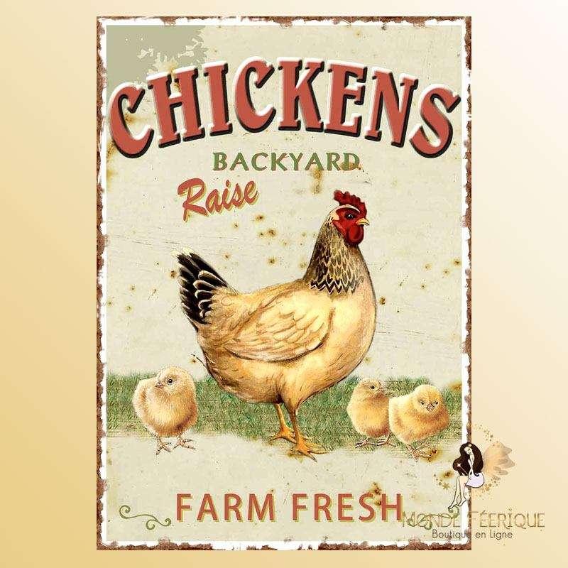 Plaque Décoration Chicken Premium 30x40cm