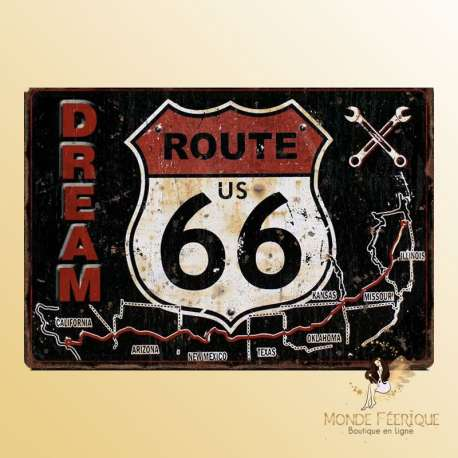 PLAQUE decoration vintage route 66 USA