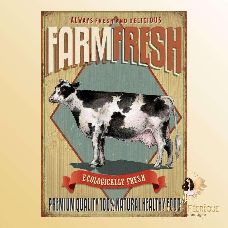 Plaque Décoration Vintage vache Premium 30x40cm