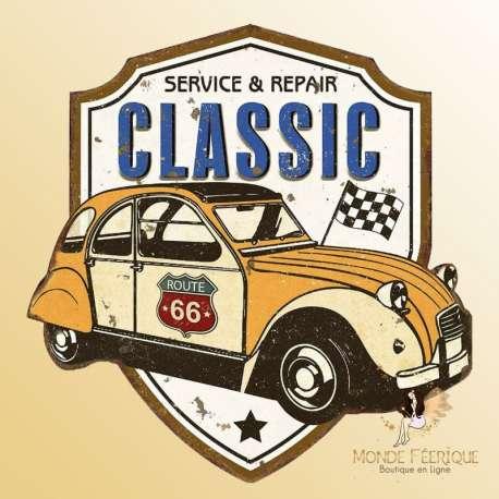 plaque decoration voiture vintage murale