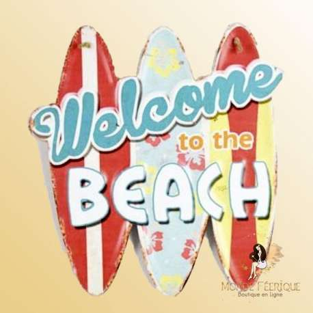plaque decoration welcome to the beach deco murale vintage
