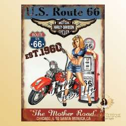 plaque retro americaine USA pin up publicité