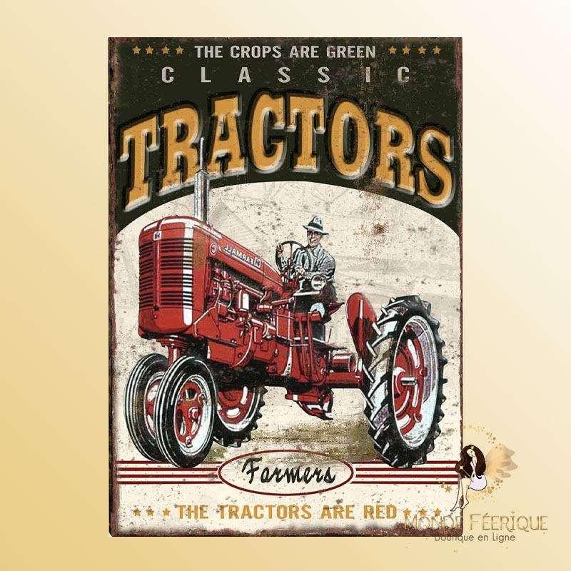 Plaque Décoration Tracteur Premium 30x40cm