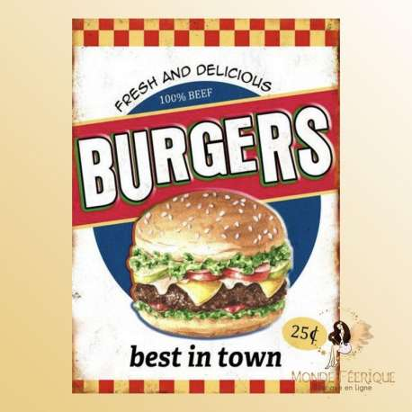 plaque vintage burger retro decoration
