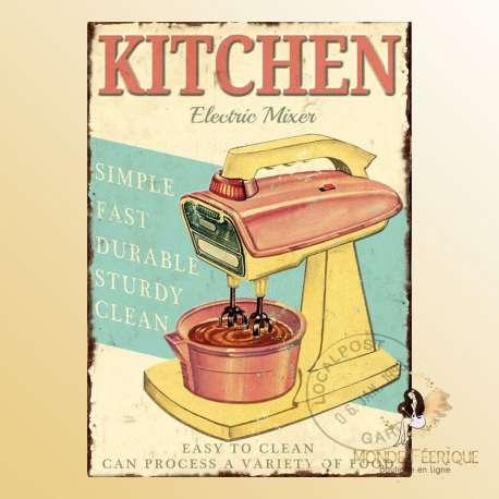 plaque vintage cuisine décoration robot menager