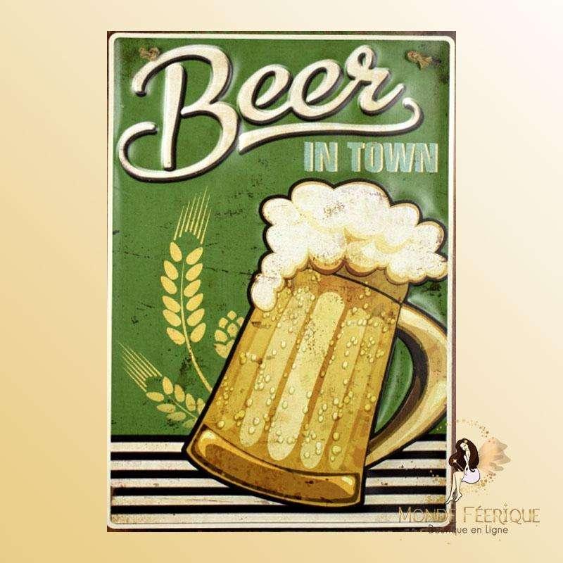 Plaque Décoration Biere vintage Premium 30x40cm