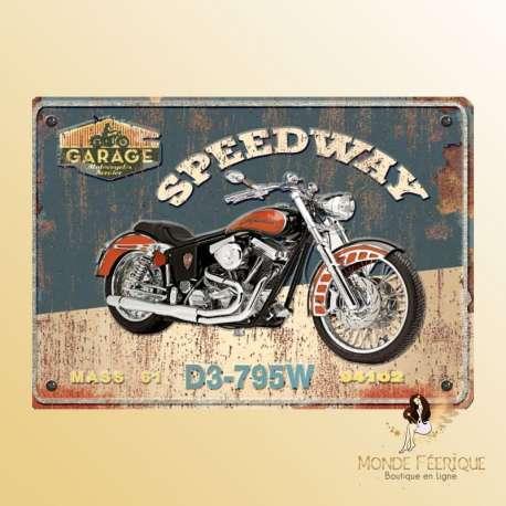 plaque vintage decoration roadster moto ancienne
