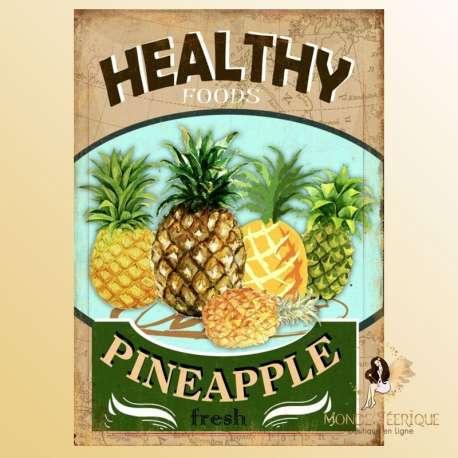 plaque vintage fruits dessert ananas