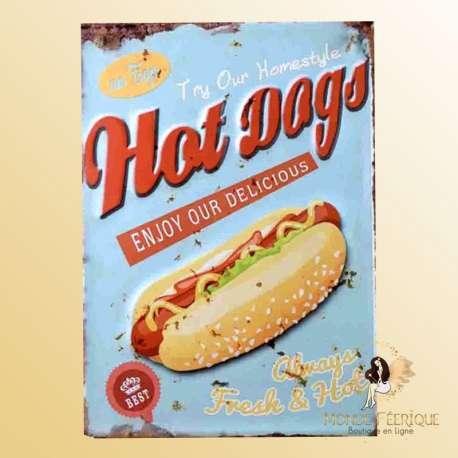 plaque vintage hot dog decoration fast food