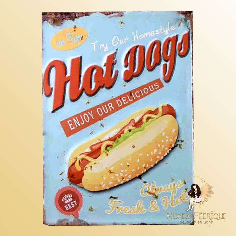 Plaque Vintage Hot Dog Premium 30x40cm