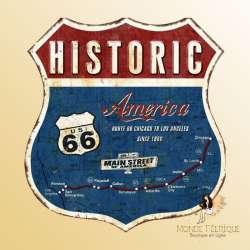 plaque vintage metal USA Route 66 ecusson