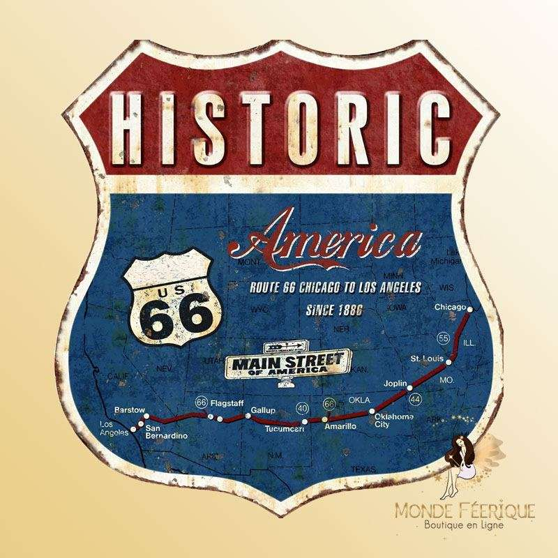 Plaque Vintage Ecusson Route 66 Premium 30x30cm