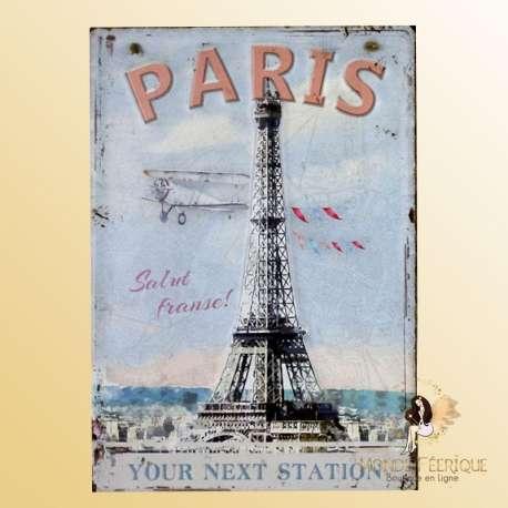 plaque vintage paris tourisme tour eiffel