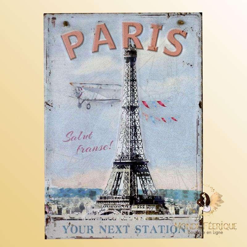 Plaque Vintage Paris Tourisme Premium 30x40cm