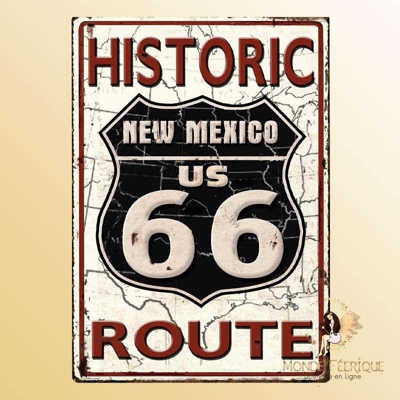 Plaque Vintage route 66 historique Premium 30x40cm
