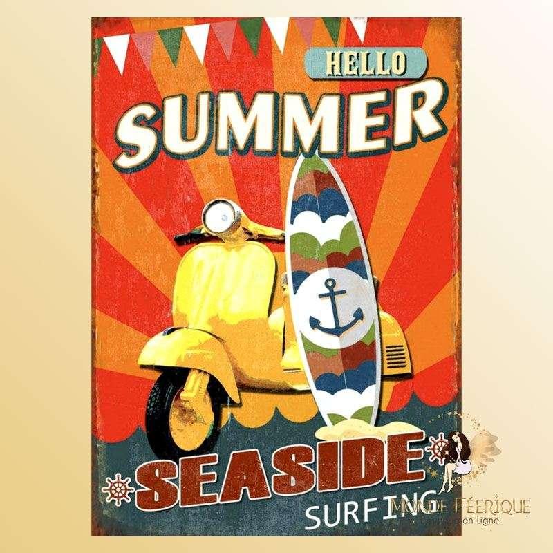 Plaque Vintage Hello Summer Premium 30x40cm