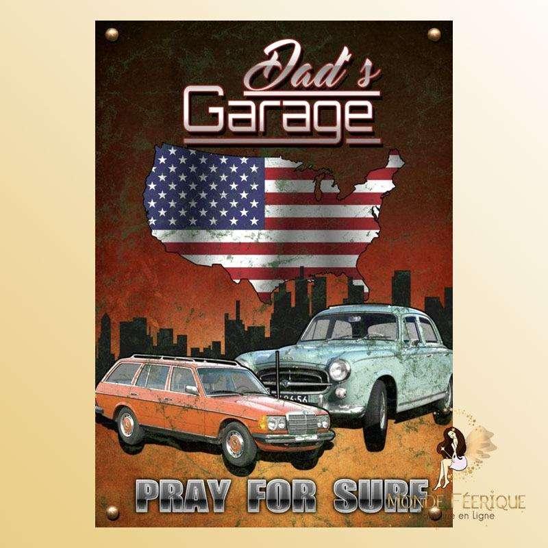 Plaque Vintage Dad Garage Premium 30x40cm