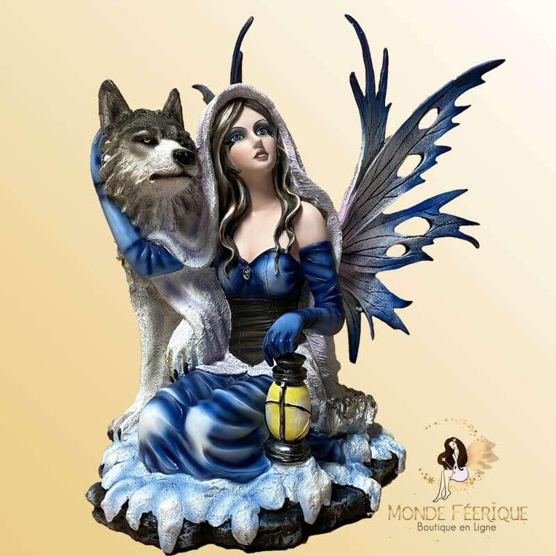 Grande Figurine de Fée Loup & Lanternes 39cm