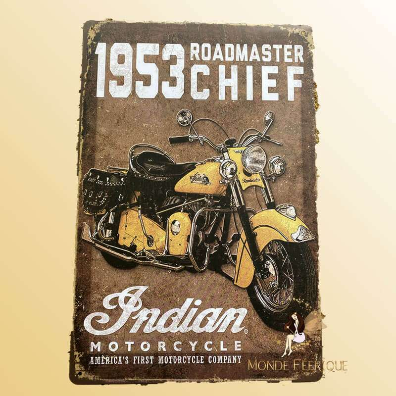 Plaque Mur Moto Indian Décoration -- 20x30cm