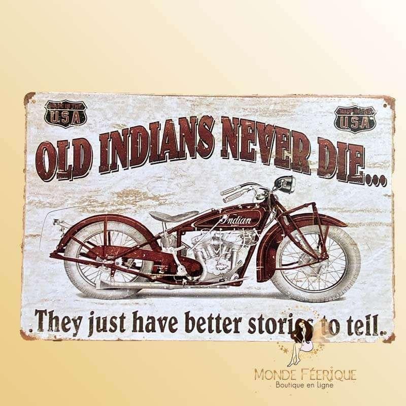 Plaque Metal Déco Moto Ancienne Indian
