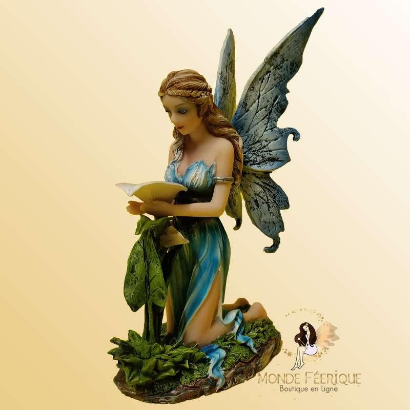 Statuette Fée Orchidée Bleu -- 16cm