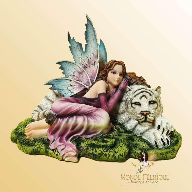 """Grande figurine Fée """"L'amour des Félins"""" -- 29cm"""