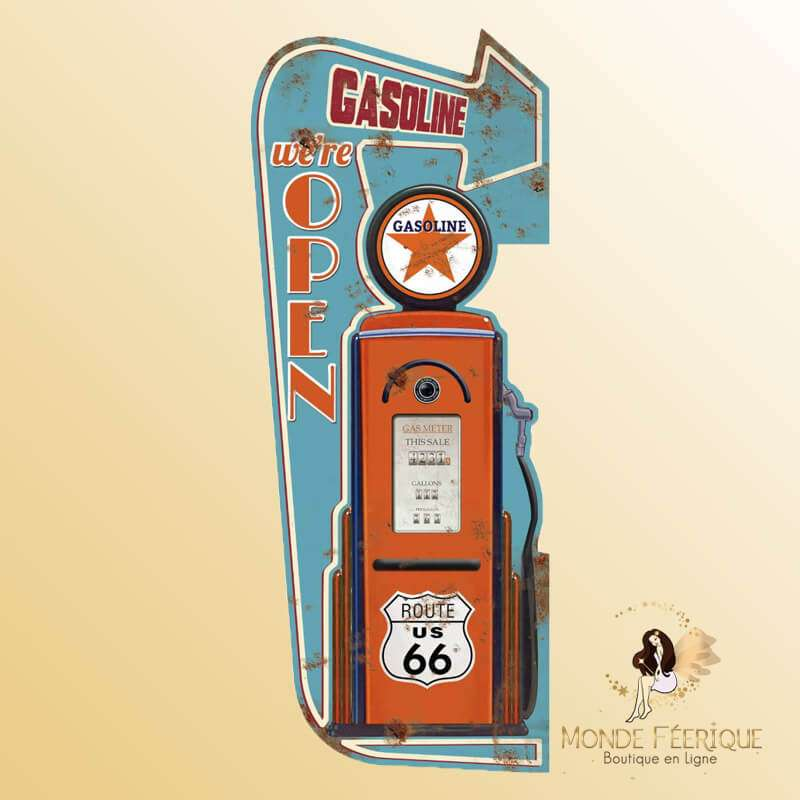 Plaque Metal Gasoline vintage