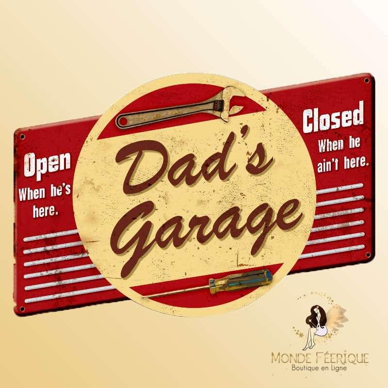 Plaque Metal Rétro Garage du Père