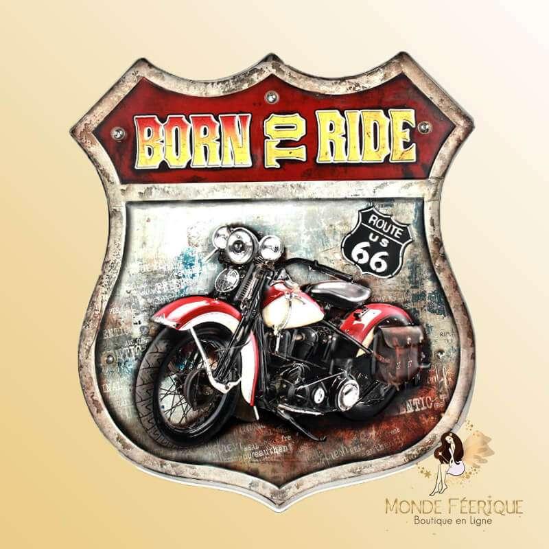 Ecusson Metal Moto Vintage Born To ride