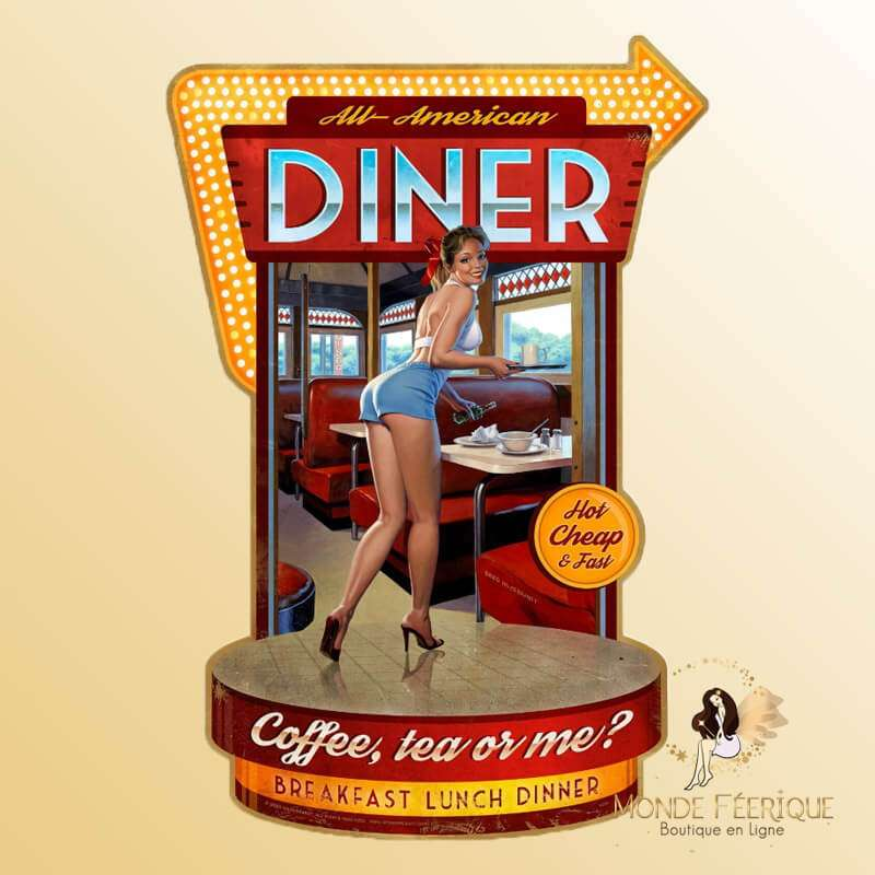 Plaque Metal vintage Diner Sexy XL