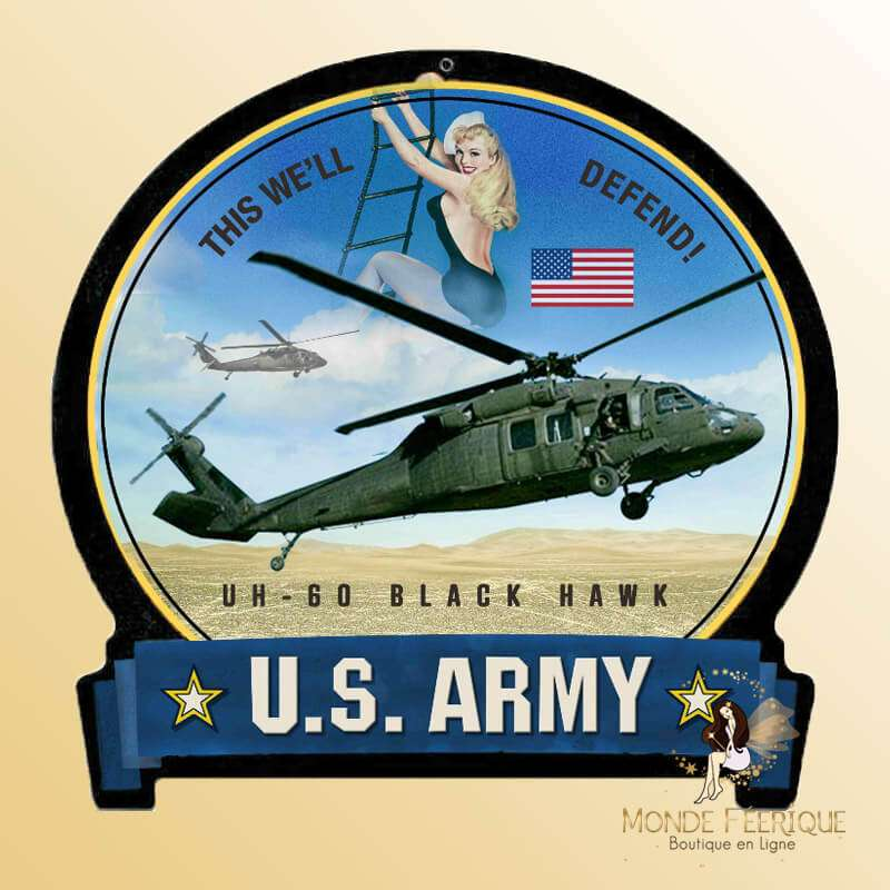 Plaque Metal Black Hawk USA