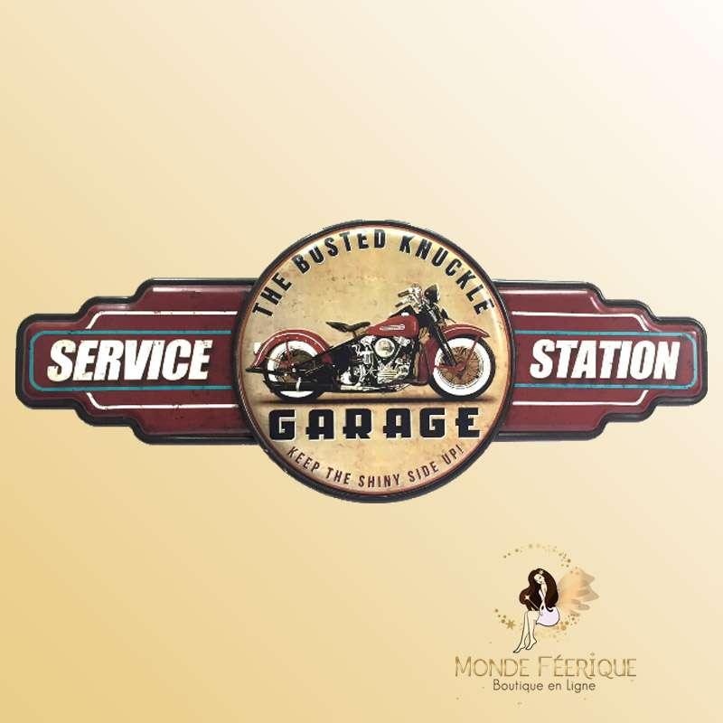 Plaque Metal Station Service Moto 73cm
