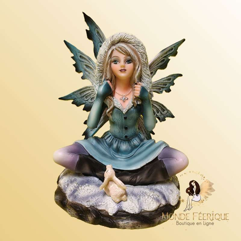 Figurine Fée Méditation Hiver -- 16,5cm