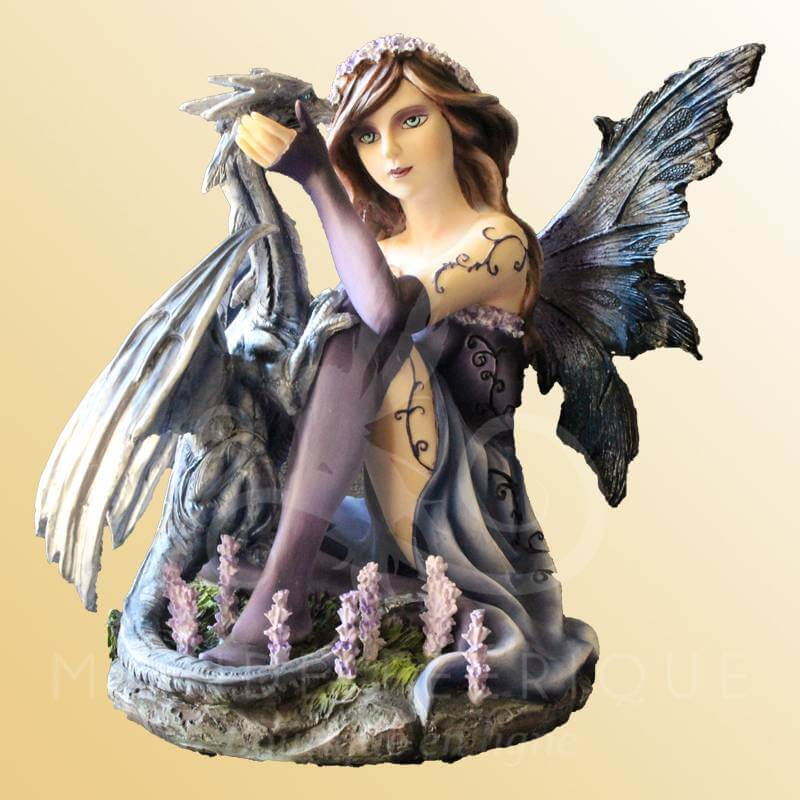 FIGURINE FEE DRAGON ET LAVANDE