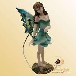 Figurine Fée et Petit Dragon 16cm